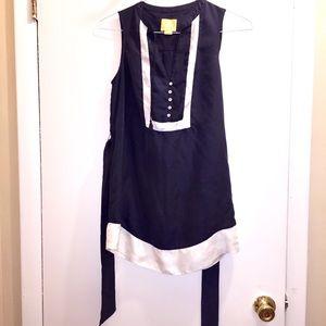 Anthropologie Navy Tie/ Button Dress